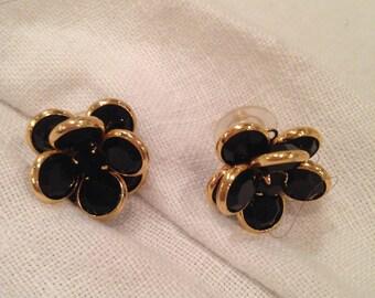 Swarovski Black Bezel Crystal Flower Pierced Earrings with Rhinestone Center.