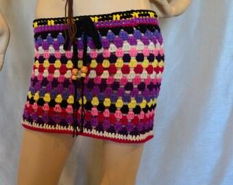 Vintage crochet Womens Granny Square Hippie Gypsy Mini skirt