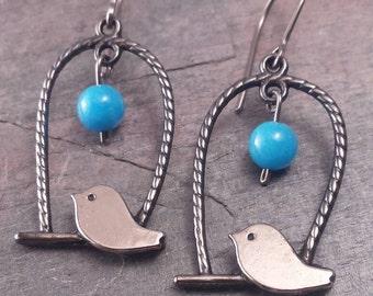 Vintage Style Niobium Earrings. Nickel Free Niobium Earwires. Turquoise Blue Stone Earrings. Fanciful Nature Earrings.