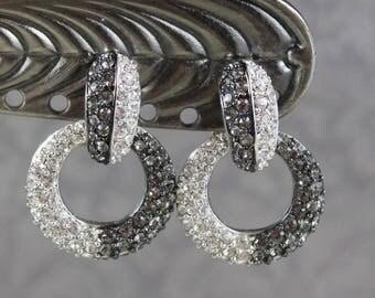 Vintage Nolan Miller Rhinestone Gold Basket Weave Oval Clip On Earrings