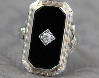 Vintage Art Deco Yellow and White Gold Black Onyx Diamond Centered Cocktail Ring