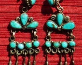 Reserved for Lisa, please do not purchase:) -- Navajo Sterling Silver Turquoise Squash Blossom Dangle Earrings
