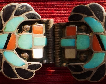 Zuni Sterling Silver Turquoise Multi-Stone Inlay Knifewing Watch Band Tips