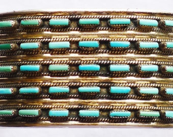 Zuni Sterling Silver Five Row Needlepoint Turquoise Cuff Bracelet