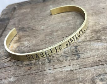 Medical Bracelet Custom Bracelet solid brass cuff Diabetic  or other Medical condition alert Bracelet