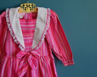 Vintage Girl's Pnk Striped Dress with Lace Trim - Size 4