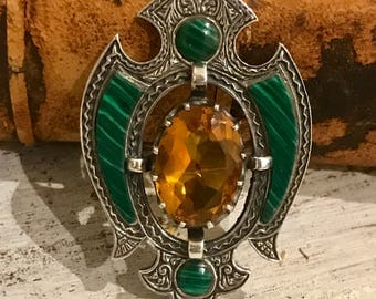 Beautiful Vintage Ornate Sterling Silver Gold Citrine Green Malachite Shield Crest Vintage Brooch