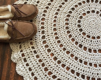 "Crochet Doily Rug in Ecru 38"", Handmade"
