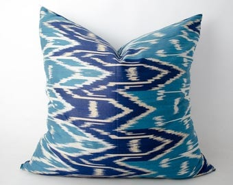 20x20 blue ikat pillow cover, ikats, ikat cushion, uzbek ikat, sofa pillow, accent pillow, decorative pillow, navy, navy pillow navy cushion