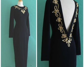 80's open back dress // black knit gold corded knit dress ~ small medium