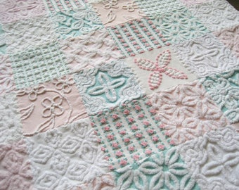 """Ready Made """"Summer Morning"""" -  Handmade Heirloom Quality Vintage Chenille Baby, Toddler or Lap Quilt"""