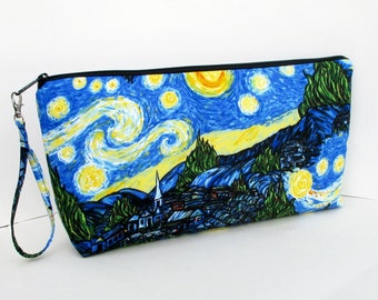 Starry Night, Large Zipper Pouch, Knitting Zippered Project Bag, Wedge Bag