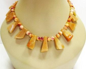 40% off Red Orange Aventure Slab Necklace - Gemstone Necklace - Chunky Necklace - Womens Plus Size Necklace - Long Necklace - 22 Inch Neckla