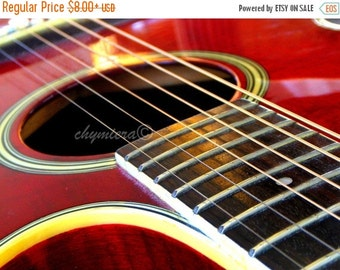 """Guitar Photography Giclée Print. """"Strings- Series II"""" Red . Guitarist Musician photo . Music room art room rustic Country. Unframed print"""