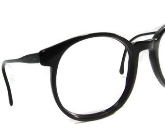 Vintage Big Lens Black Hornrim Cateye Eyeglasses Eyewear Frame
