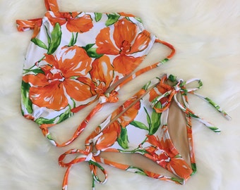 Floral halter swimsuit