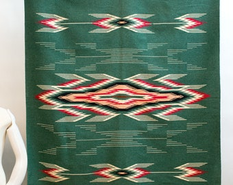 "1950's Chimayo Hand Woven Rug W Beautiful Pattern Design 52"" x 84"" Large"