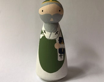 St David of Wales - Wooden Peg Doll