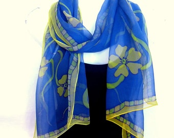Hand Painted Silk Scarf, Floral Silk Scarf Handpainted, Medium Blue Yellow Green, Silk Chiffon Scarf, Gift For Her
