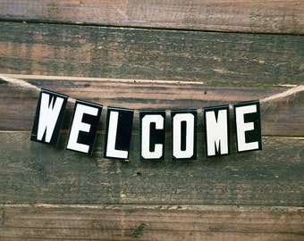 WELCOME Mini Banner - Vintage Unitype Letters - Church Letters Sign - Industrial Home Decor - Housewarming Gift - Hostess Gift