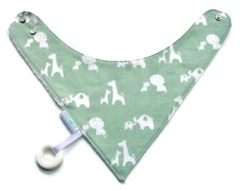 Baby Bandana Bib With an Attached Food Safe  Silicone Teether,  Elephants and Giraffes  Reversible  Minky Lined