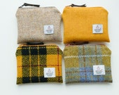 HARRIS TWEED coin purse - choice of mustard and yellow - zipped pouch - coin purse - change purse - Handmade in Scotland