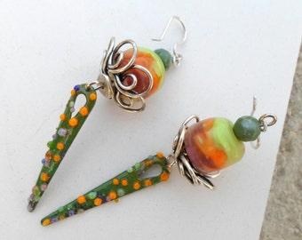 Lampwork Earrings, Enamel Earrings, Handmade Jewelry, OOAK long dangle Earrings, Holiday Season Multimedia Jewelry Gift for Her