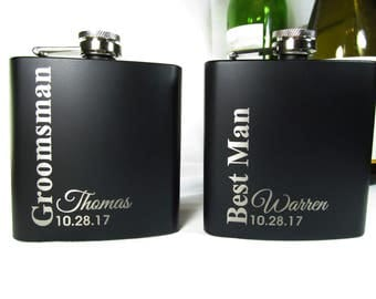 6 Custom Engraved Flasks Groomsmen Gifts Best Man Flasks Personalized Hip Flasks Wedding Party Keepsake Favors Gifts Vertical
