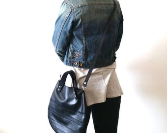 Black  leather  basket bag ,Cross-body bag ( leather straps on front)