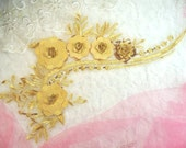 "Embroidered 3D Applique Gold Floral Ballet Sequin Patch 16"" (DH74-gl)"