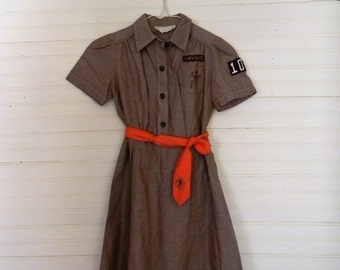 Vintage Girl Scouts / Brownies Uniform Dress, Girls Vintage Dress, Brown Dress, Vintage Girl Scouts Uniform, Girls 50s, 40s Cotton Dress