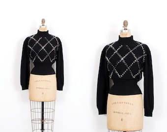 Vintage 1980s Sweater / 80s Ungaro Cross Hatch Wool Turtleneck / Black ( medium M )