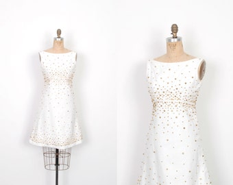 Vintage 1960s Dress / 60s White Cotton Dress with Gold Studs / A Line (small S)