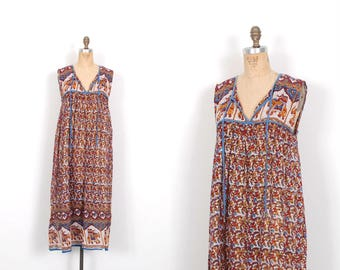 Vintage 1970s Dress / 70s Indian Cotton Printed Midi Dress / Red and Blue ( S M L )