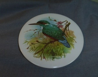 """Kitchen Trivet, Kingfisher Bird by JCV Humik - Crafted in BC Canada Cork Backing 6"""" diameter"""