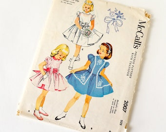 Vintage 1950s Girls Size 2 Party Dress and Ruffled Hem Slip McCalls Sewing Pattern 2007 Complete / b21 w20/ Embroidered, Easter Flower Girl