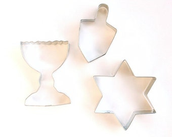 Hanukkah Cookie Cutter Set (3 cookie cutters) Dreidel Cookie Cutter, Menorah Cookie Cutter and Star of David Cookie Cutter