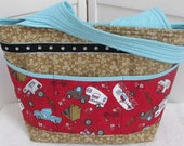 Vintage Camping Large Tote Bag Road Trip Tote Bag Vintage Pick Up Truck Shoulder Bag Red and Teal Purse Ready To Ship