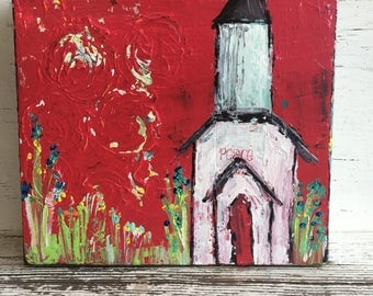 "Church painting , 8 x 8 wood piece with 3""deep profile, original painting, flowers, fine art, reds"