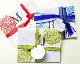 Hand Stamped Initial Stationery. Gifts for Sister. Gifts Under 20. Personalized Stationery. Initial Card. Colorful Stamped Letter Note Cards