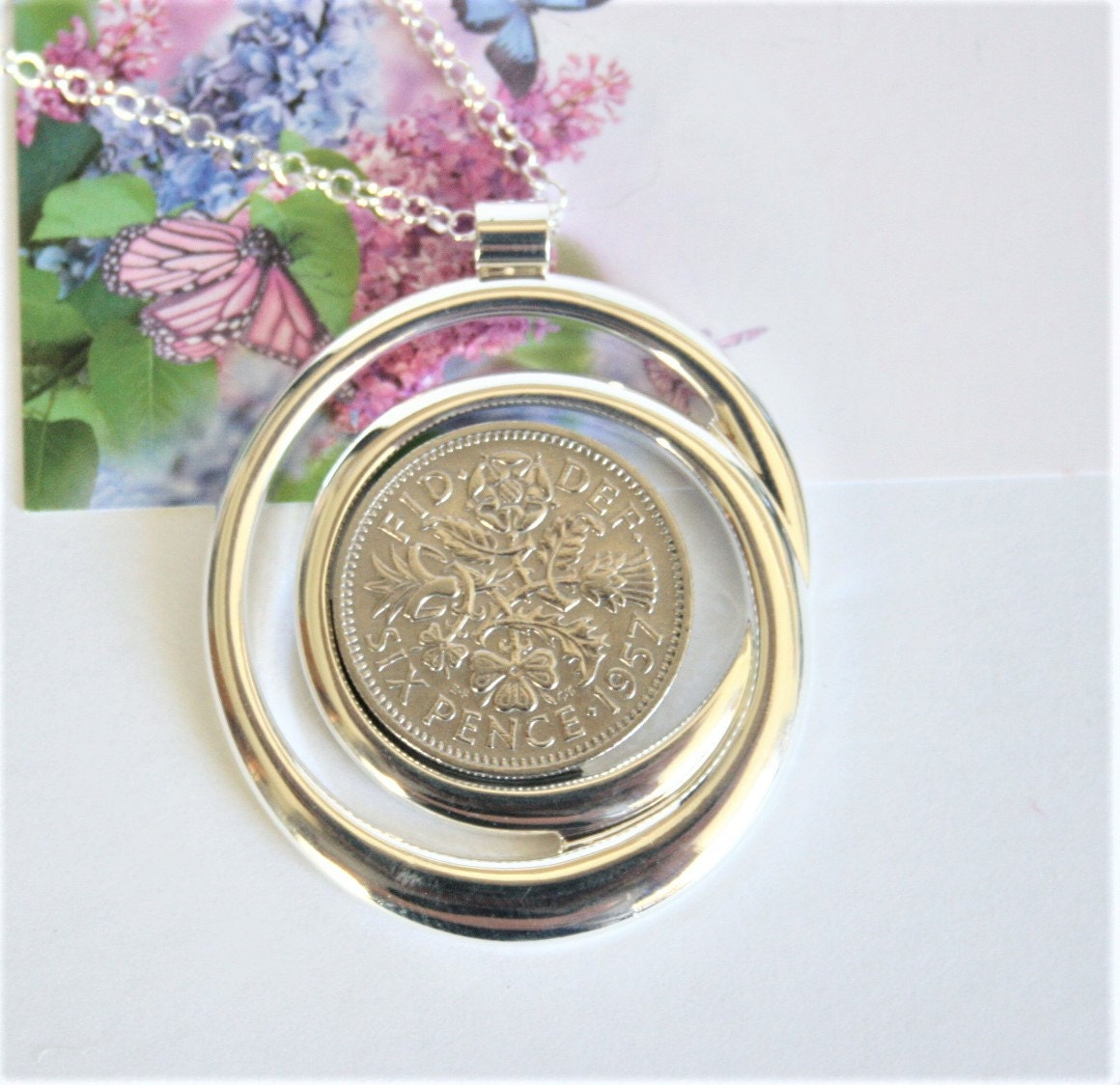 60th Birthday Gift For Women . Lucky Sixpence Necklace 1957
