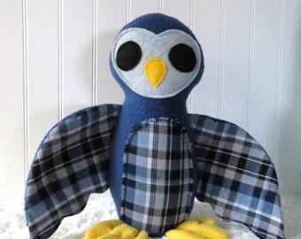Navy Blue Owl, Plush Owl, Toy Owl