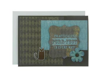 Cat Greeting Card Pet Love Card Cat Lover Gift Blank Card Cat Gift Blank Cards Chocolate Brown Purr-fect