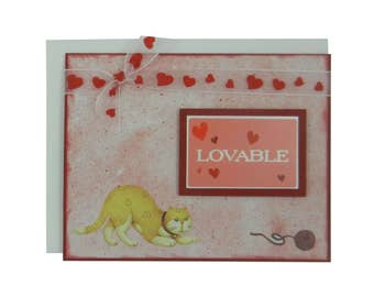 Loveable Cat Card Cat Greeting Card Cat Lover Gift Blank Card Cat Gift Blank Cards Love Card Valentines Day Card Valentine Love Cards