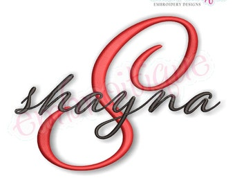 Shayna Calligraphy Brush Script Monogram Font - Small - BX files included- Instant Download Machine embroidery design