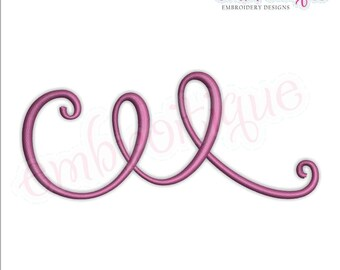 Curly Swirly Calligraphy Flourish Accent Embellishment 1 -Instant Download Machine Embroidery Design