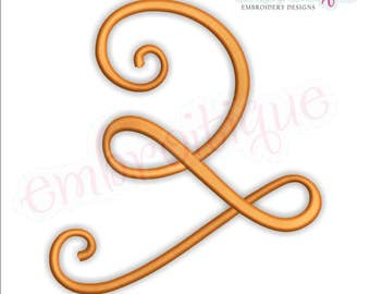 Curly Swirly Calligraphy Flourish Accent Embellishment 2  -Instant Download Machine Embroidery Design