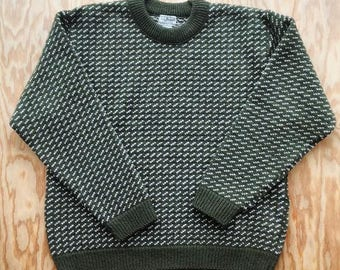 Vintage L.L. BEAN Norwegian Bird's Eye Wool Sweater | Olive Irish Spring Green | Men's Large L Oversize | Made in Norway | Free Shipping