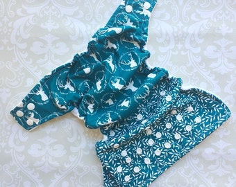 Ready to Ship - Cloth Diaper - Pocket - One Size - Teal Dear Print