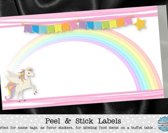 10 Stickers, Name Tags, Favor Stickers, Buffet Table Labels, Unicorn, Rainbow, Pastel Colors, Pink Stripes, Baby Shower, Birthday Party